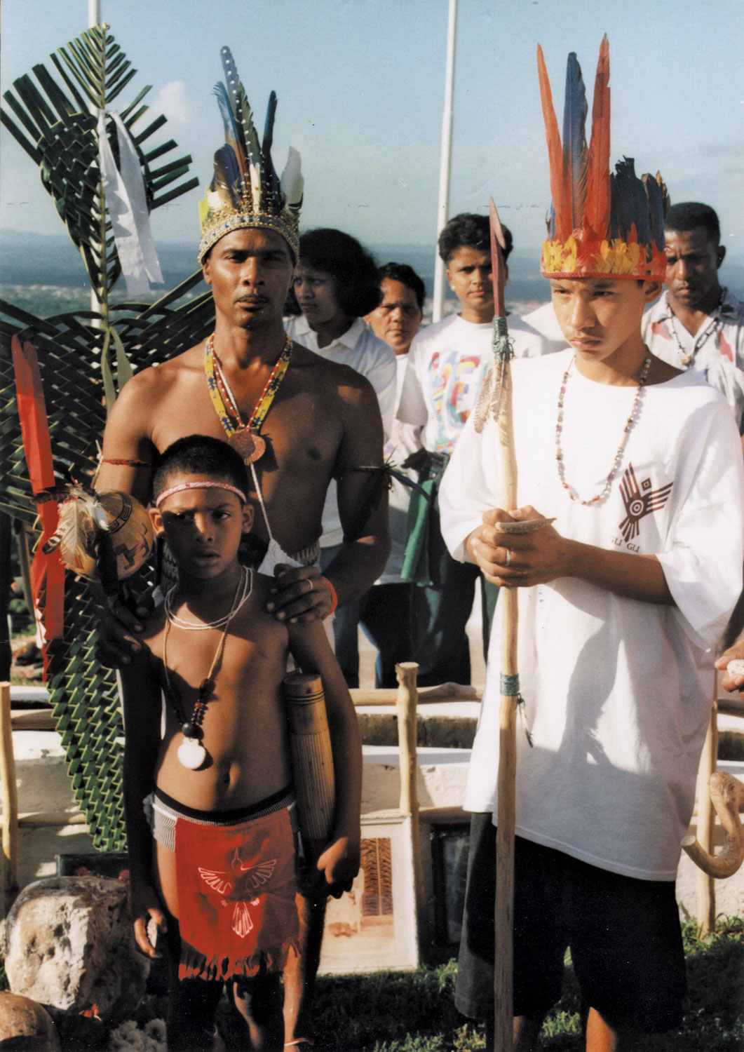Piaiman Christo Adonis leads a smoke ceremony for Independence Day. Photograph by Courtenay Rooks