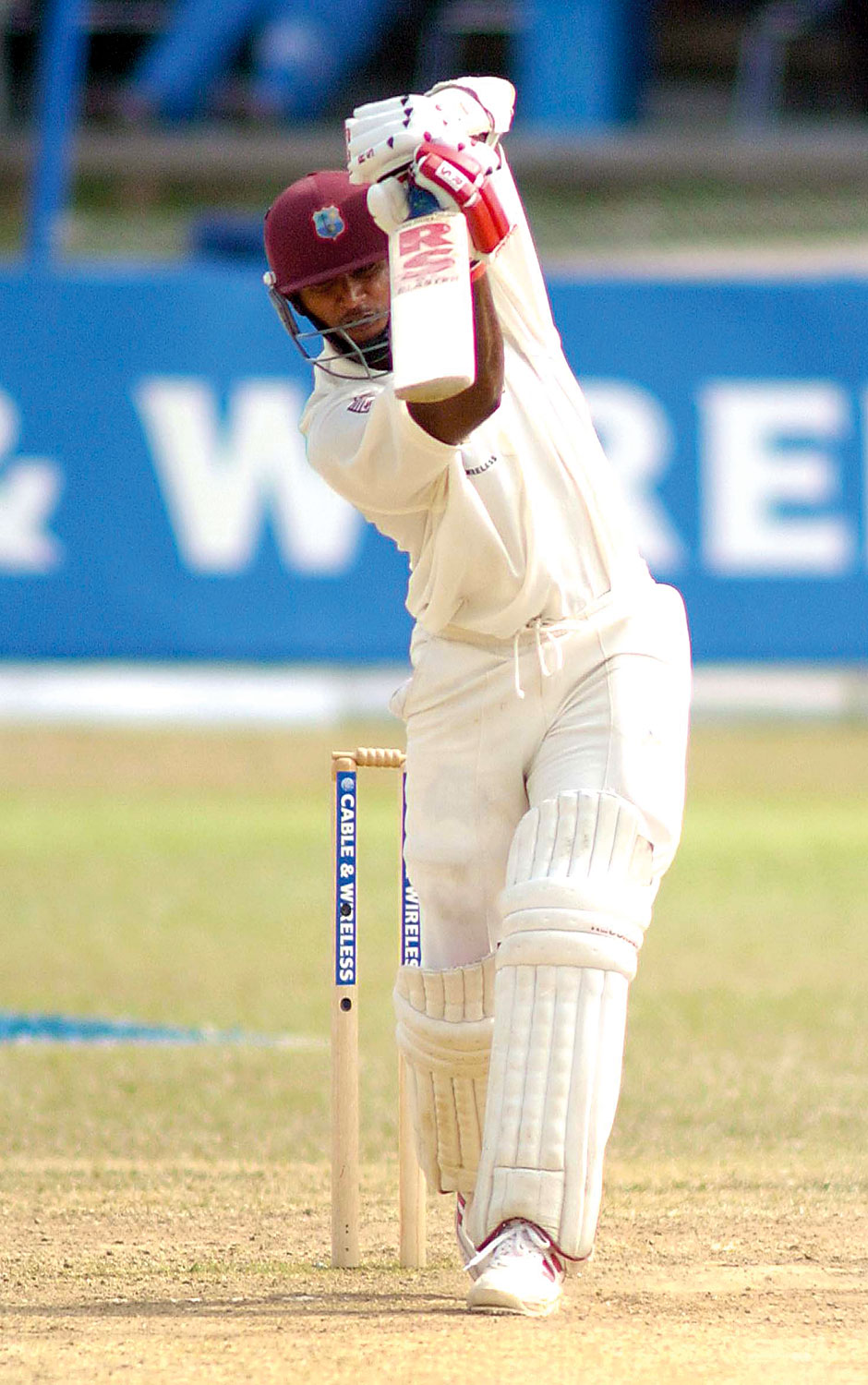 West Indies batsman Daren Ganga drives for runs during a knock of a century against Australia at the Queens Park Oval, Trinidad. Photograph by Iossjr