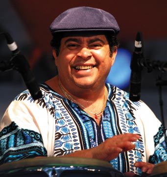 Puerto Rican percussionist Giovanni Hidalgo at the 2005 Barbados Jazz Festival. Photograph by Andrea De Silva