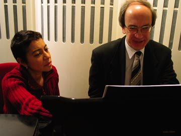 Dominique Le Gendre with accompanist Chris Willis in one of the rehearsal rooms at the Royal Opera House in London. Photograph by Georgia Popplewell