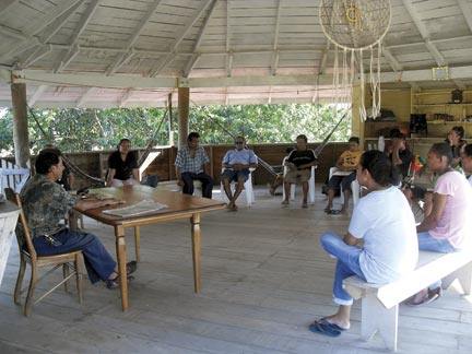 In the Surama Eco-Lodge. Allicock pioneered the community-based tourism drive in his home village. Photograph courtesy Surama Village Eco-Lodge