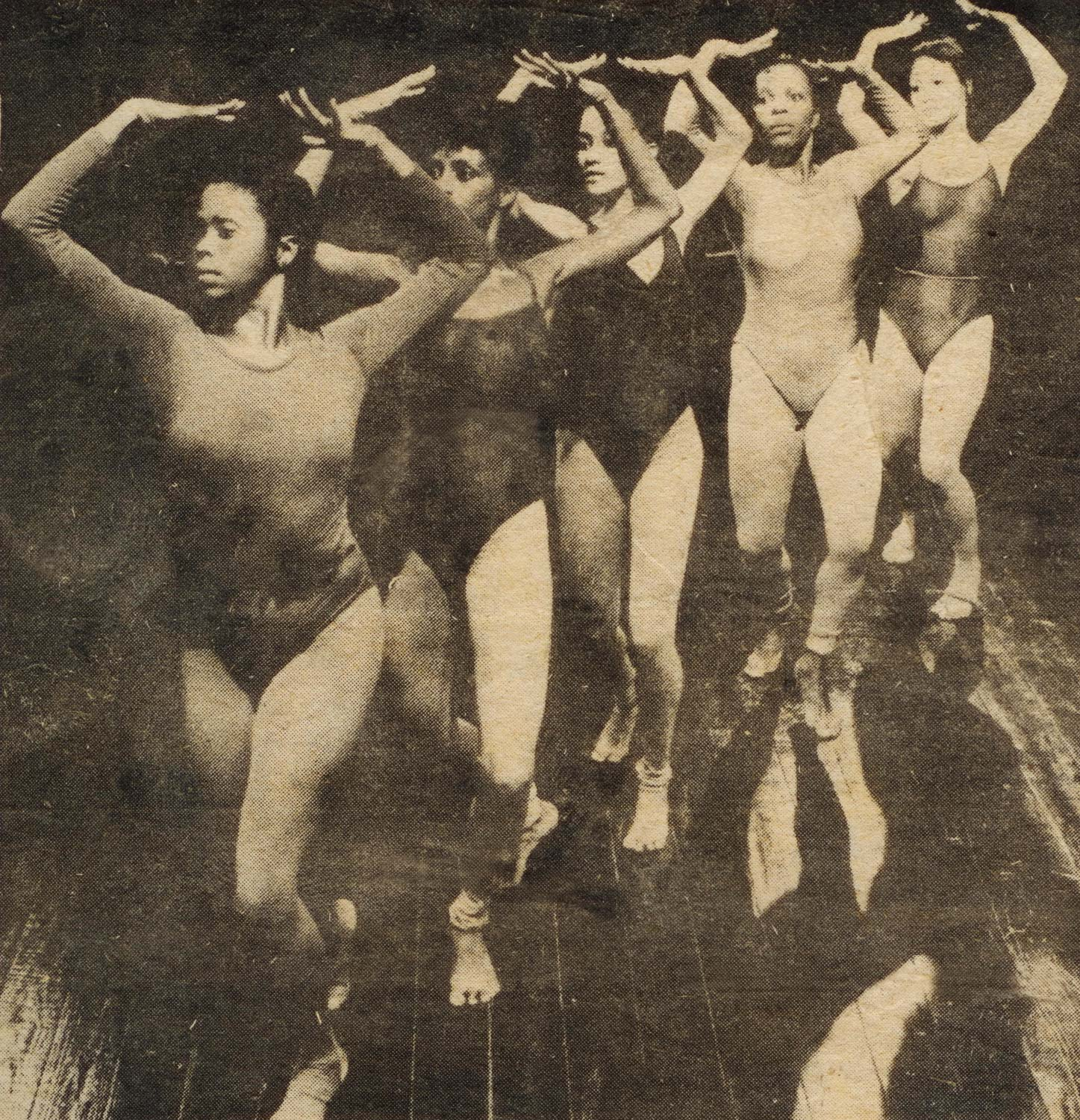 Douglas (left) leads her dancers in a rehearsal of Lament for Women Only, 1980. Photograph courtesy Adèle Bynoe