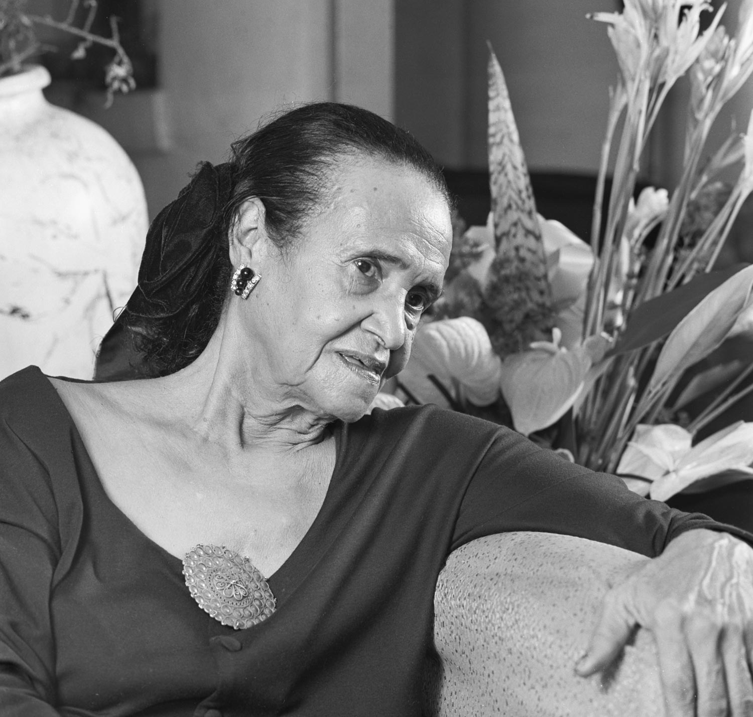 Beryl McBurnie photographed at her home in St James, Trinidad, in 1992. Photograph by Mark Lyndersay