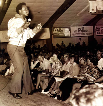 he Mighty Sparrow in his heyday, performing in a calypso tent