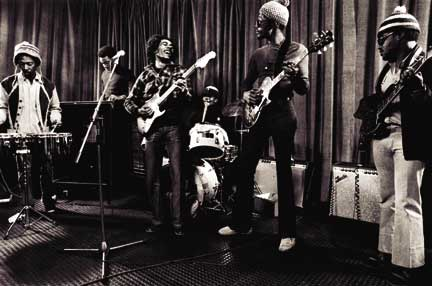 The Wailers rehearsing for a television appearance in London in 1973; Family Man is on the far right. Photograph by Urbanimage.tv/Adrian Boot/56 Hope Road music