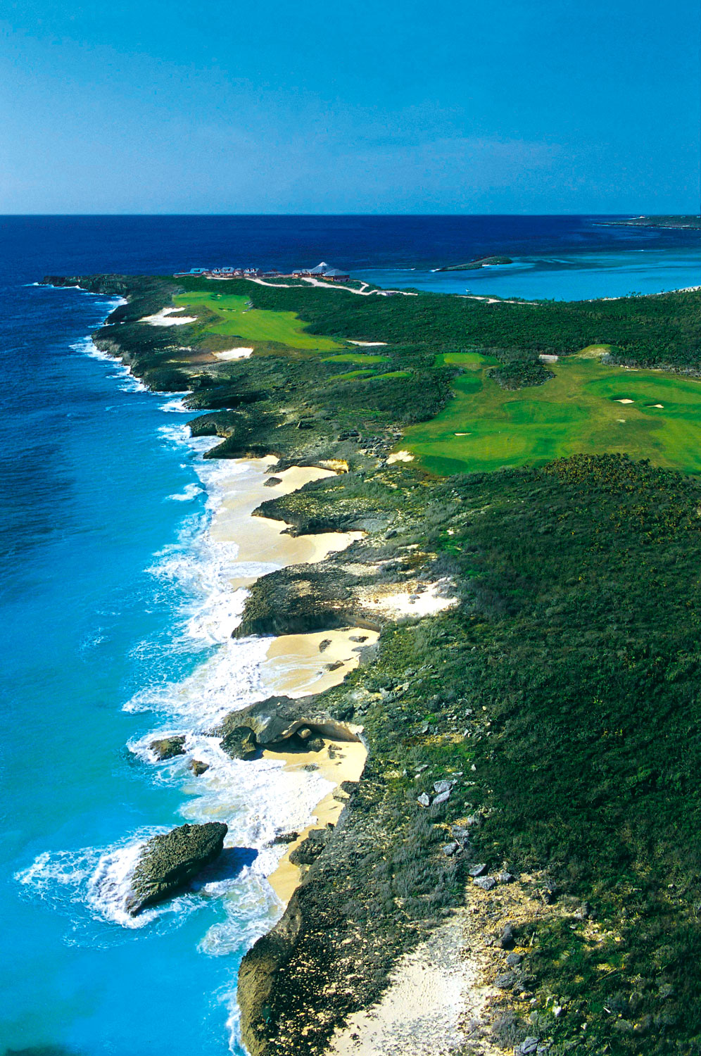 An aerial shot of the Abaco Club's tropical links (17th and 18th holes). Photograph courtesy The Abaco Club, Bahamas