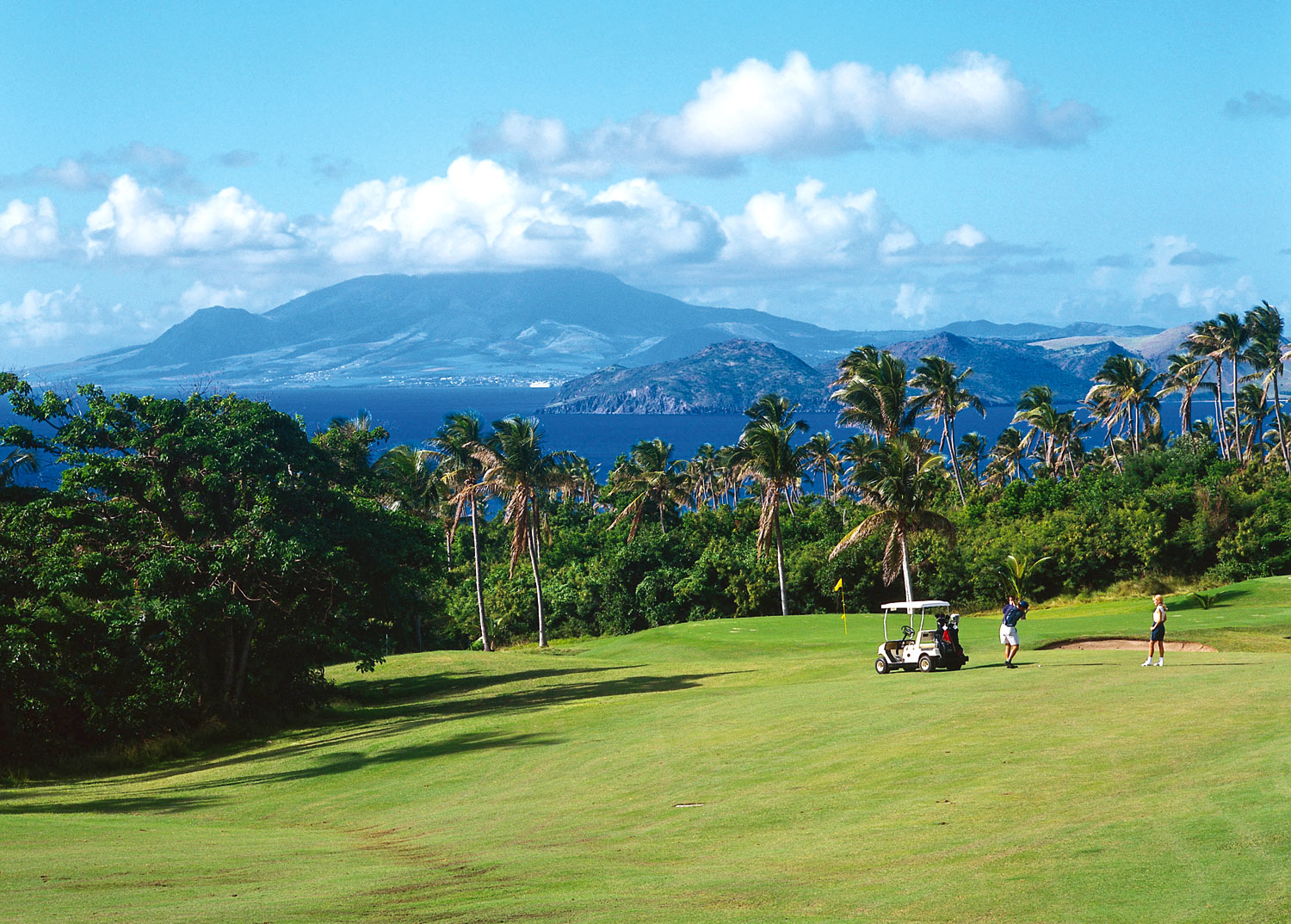 Robert Trent Jones Jr Championship Course, Nevis, with swaying palms and spectacular views of the neighbouring islands. Photograph courtesy Four Seasons, Nevis
