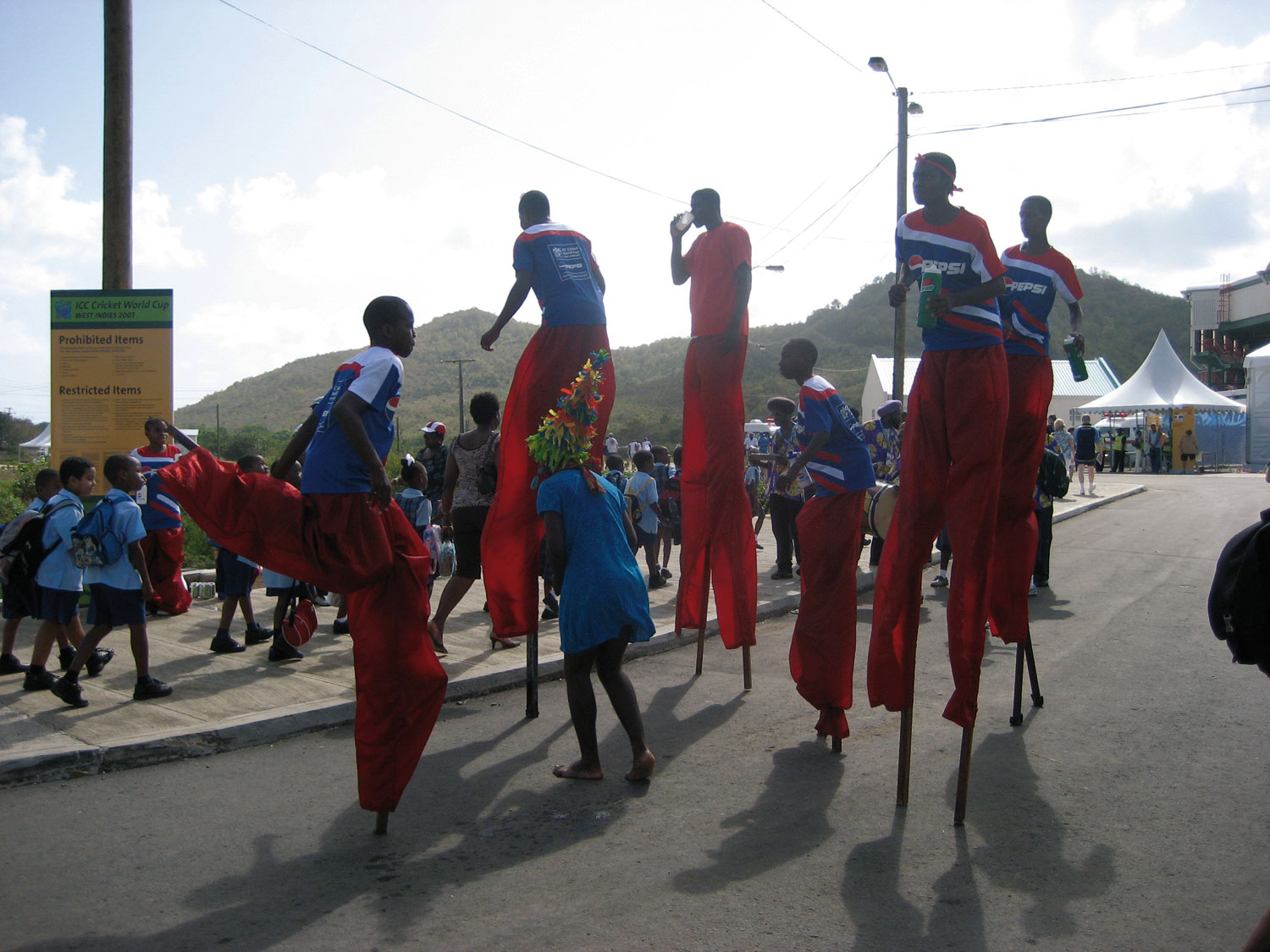 Moko jumbies perform outside the Beausejour Stadium, St Lucia. Photograph by James Fuller
