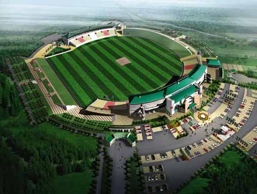 The architect's rendering of the new Trelawny Stadium in Jamaica. Photograph courtesy ICC Cricket World Cup 2007 Local Organising Committee Jamaica