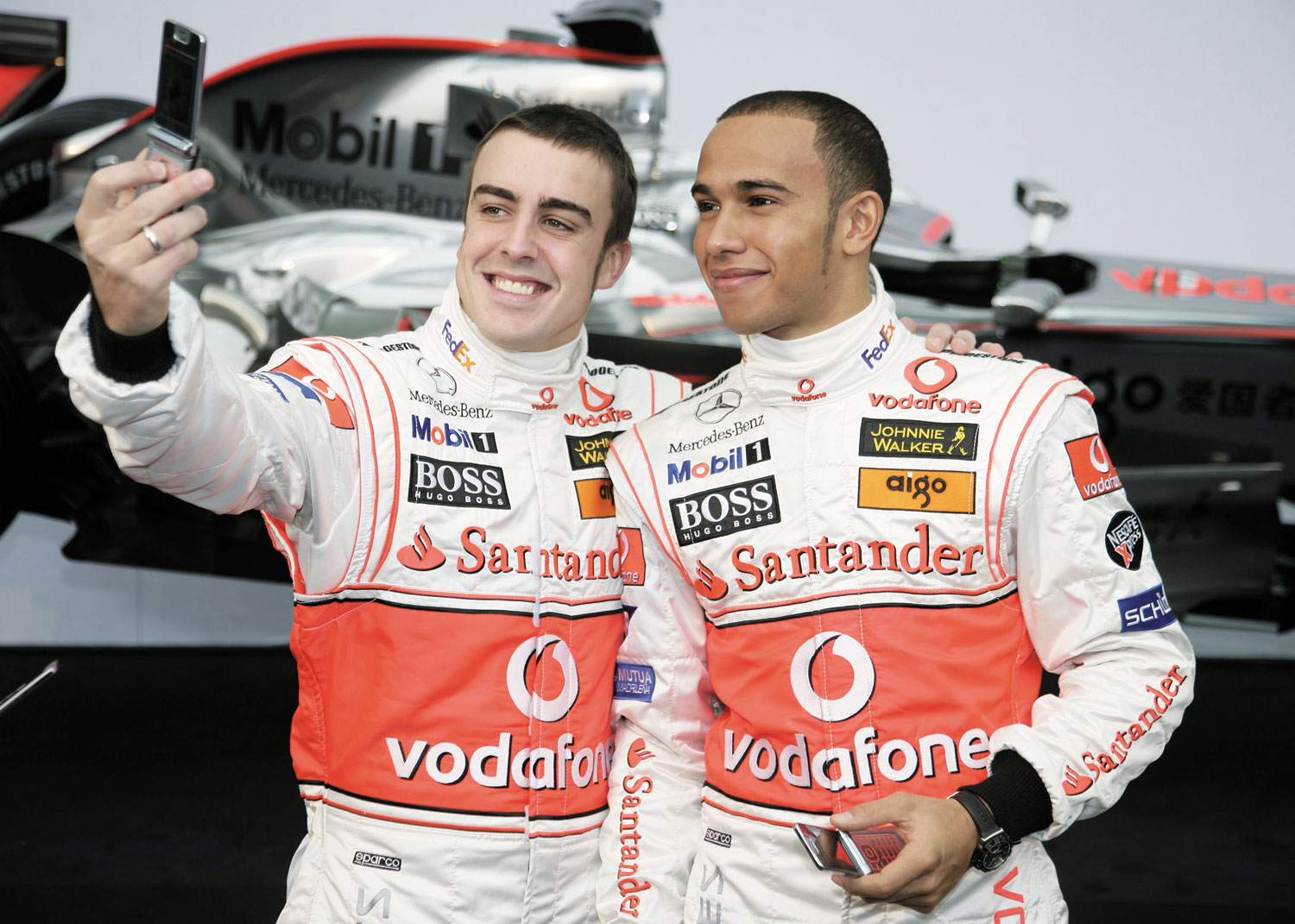 Lewis Hamilton (right) and Fernando Alonso at Vodafone McLaren Mercedes Team Presentation. Photograph courtesy www.mclaren.com