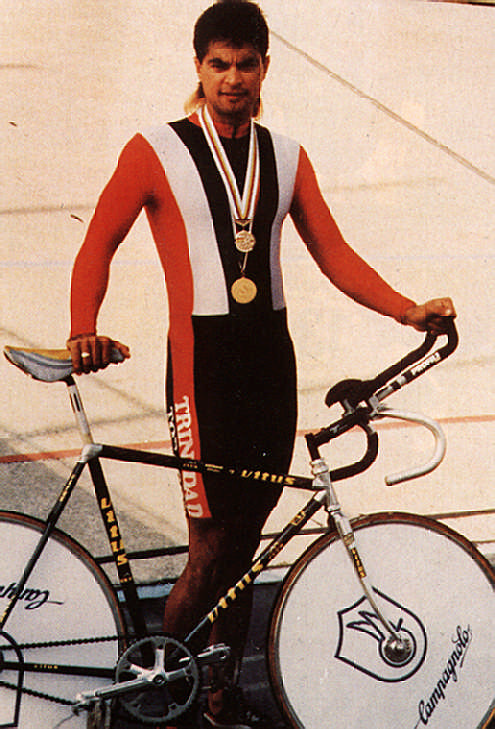 Trinidad cyclist Gene Samuel with his 1991 gold medal from the PanAm Games and World Championship bronze