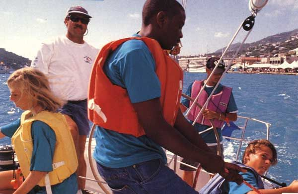 '97 Youth Regatta; Peter Holmberg is in the background. Photograph by A. J. Blake