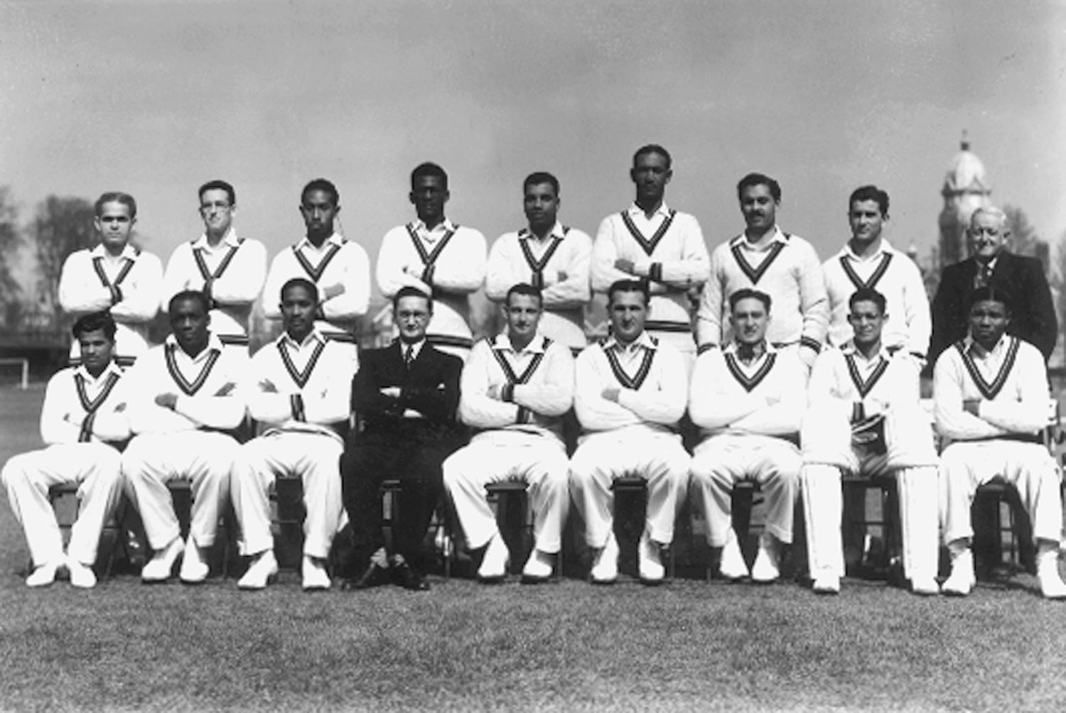 The 1950 West Indies touring side. Photograph by Douglas Miller/Keystone/Getty Images
