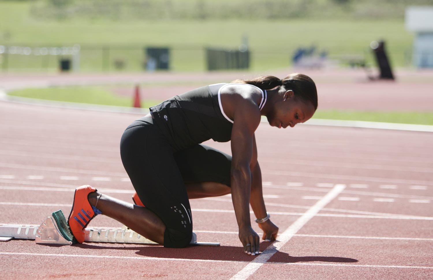 Jamaican track and field star and Olympic medalist Veronica Campbell-Brown training in Orlando, Florida. Photograph courtesy On Track Management