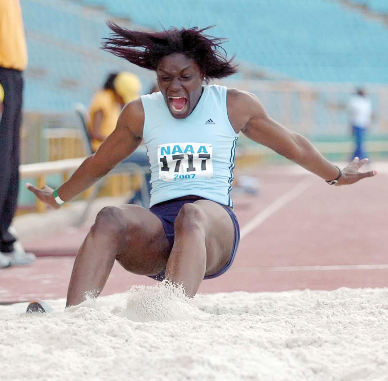 Trinidadian long jumper Rhonda Watkins at the National Track and Field Championships, 2007. Photograph courtesy Robert Taylor