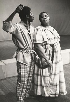 Oliver Samuels and Louise Bennett on stage. Photograph courtesy the Little Theatre Movement