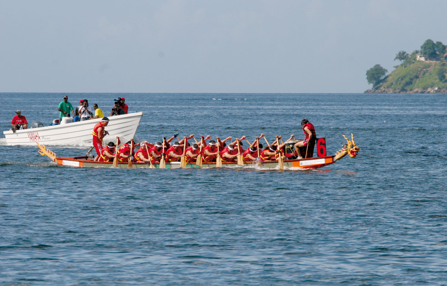 The dragons racing in the first dragon boat festival in Trinidad, October 2006. Photograph courtesy The Trinidad And Tobago Dragon Boat Association