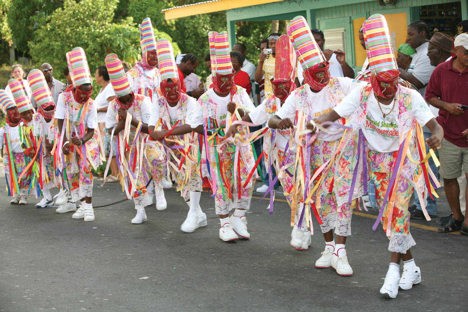 Masqueraders perform at the 2009 Cudjoe Head Day Festival. Photograph by Keith Dyett